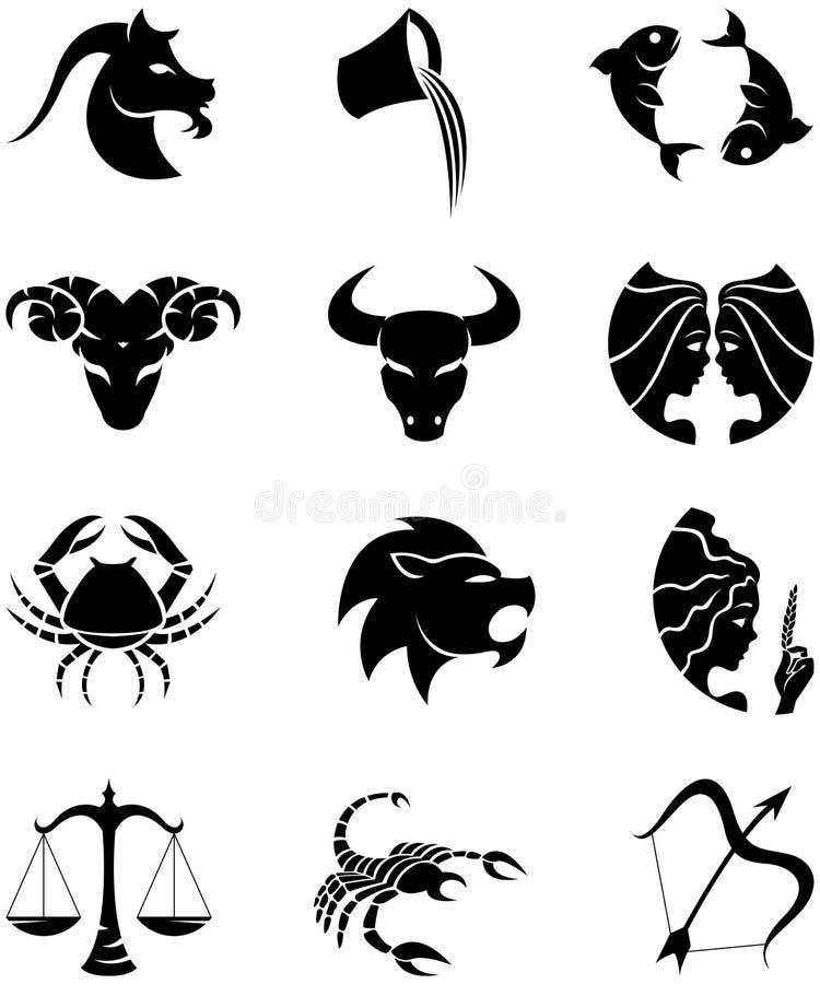 undertecknar stjärnazodiac stock illustrationer