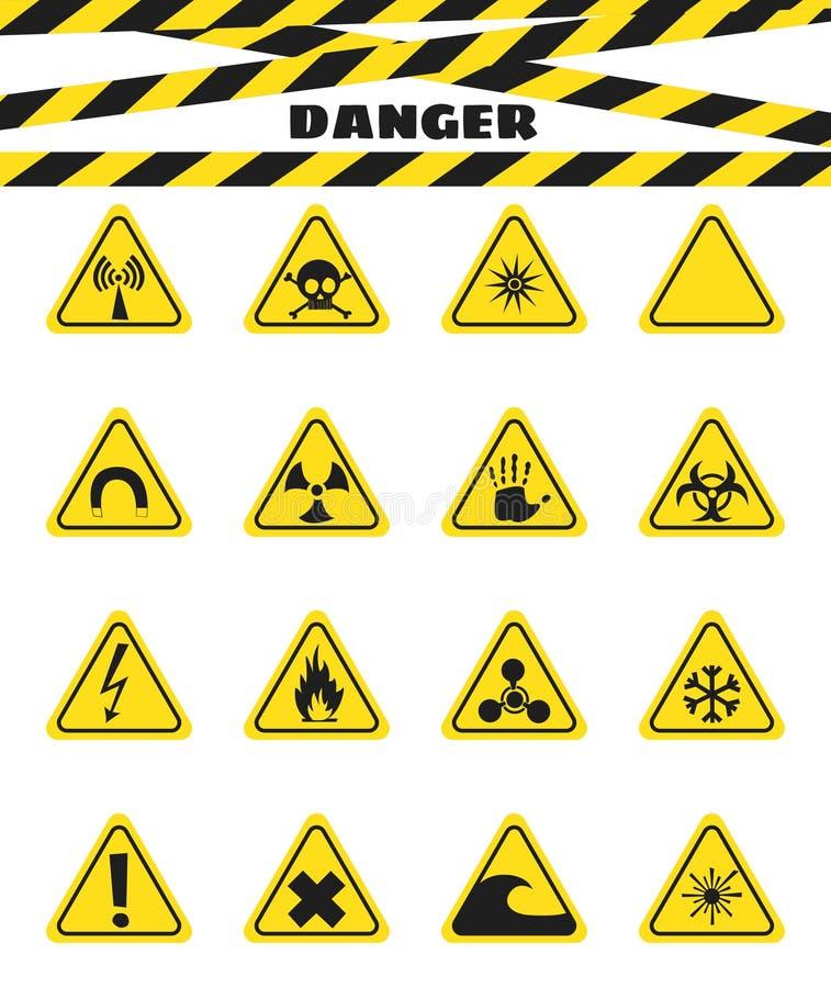 Undertecknar varning av faran från sprängmedel och brännbara flytande, närvaron av magnetfältet och utstrålning farligt vektor stock illustrationer