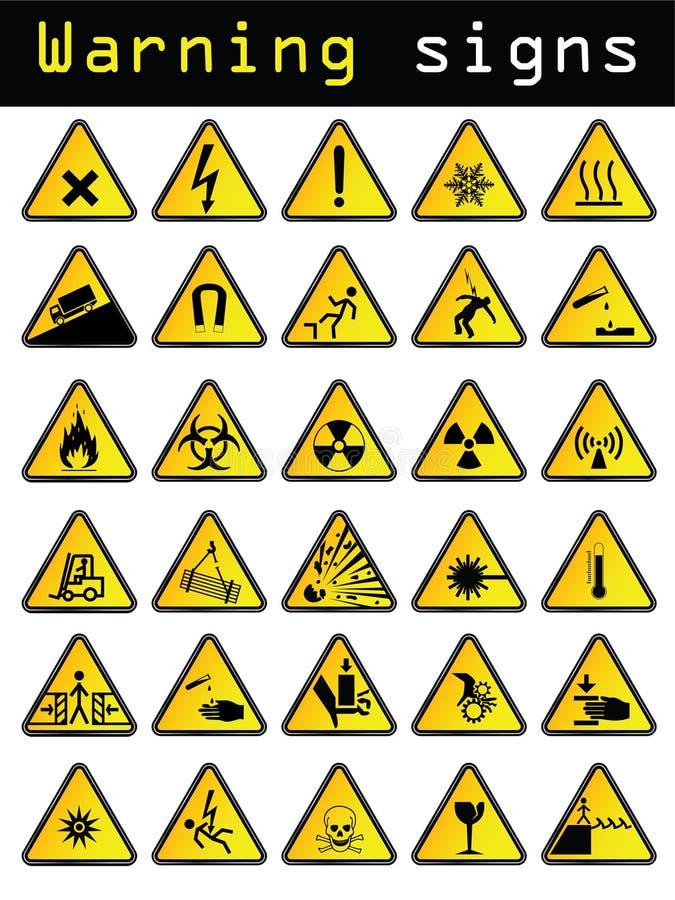 undertecknar vektorvarning stock illustrationer