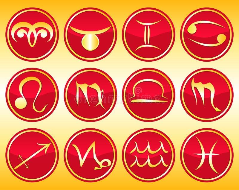 undertecknar zodiac vektor illustrationer