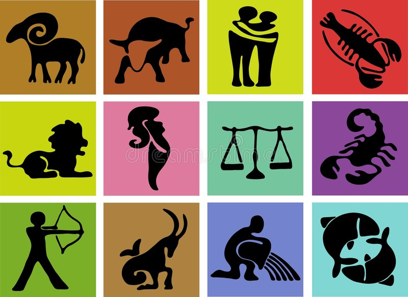 undertecknar zodiac stock illustrationer