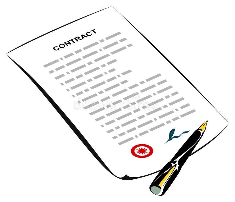undertecknat avtal royaltyfri illustrationer