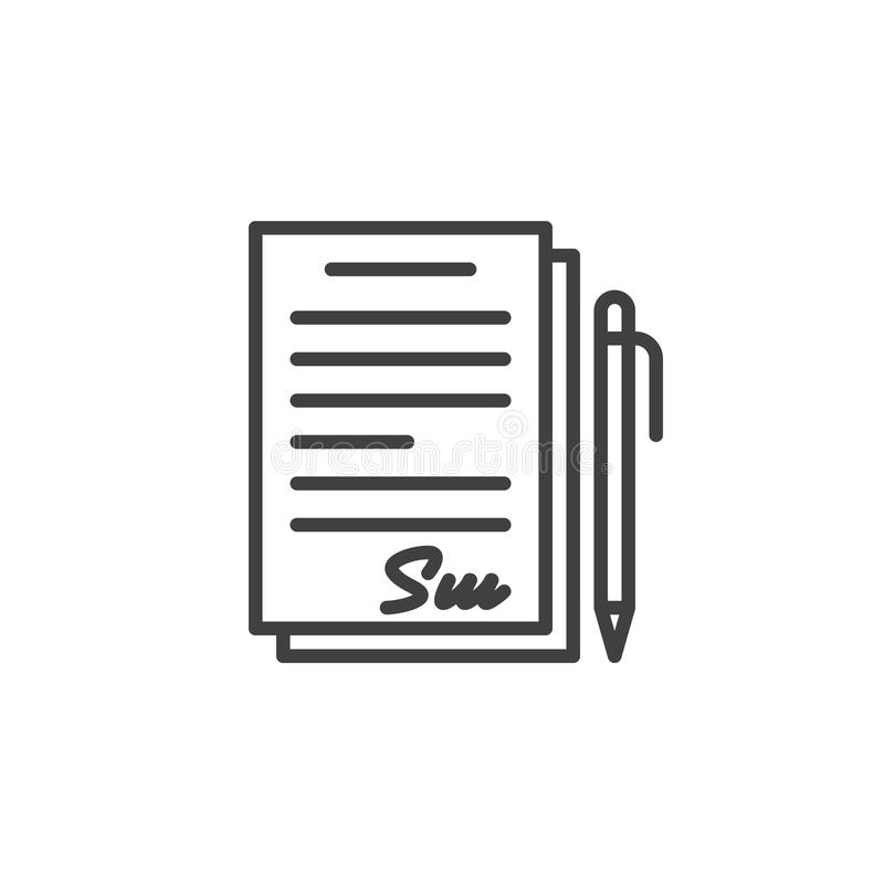 Undertecknat avtal, dokumentlinje symbol, översiktsvektortecken, linjär pictogram som isoleras på vit vektor illustrationer