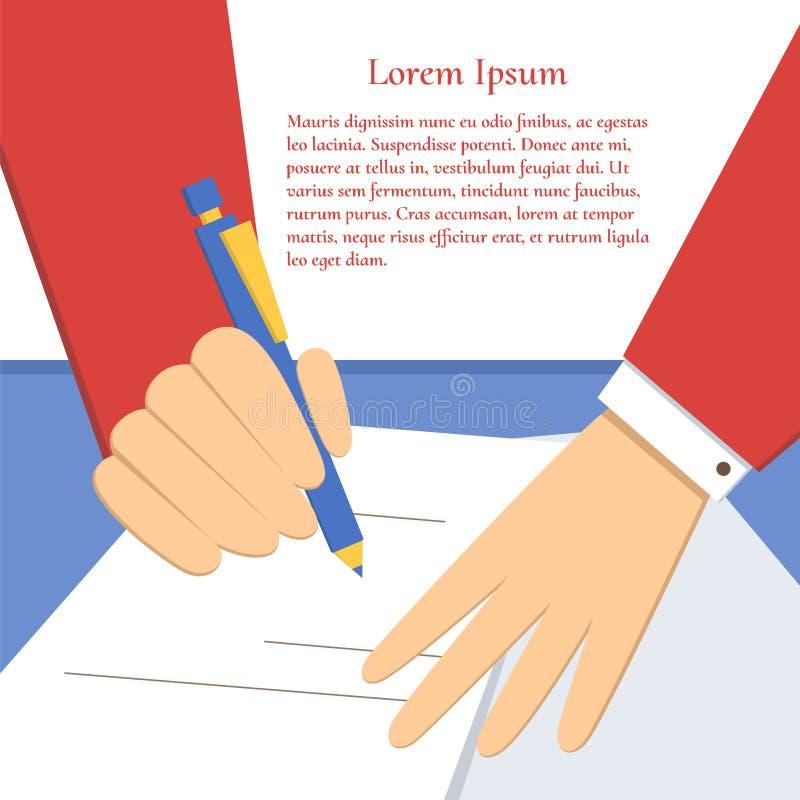 Underteckning av en överenskommelse stock illustrationer