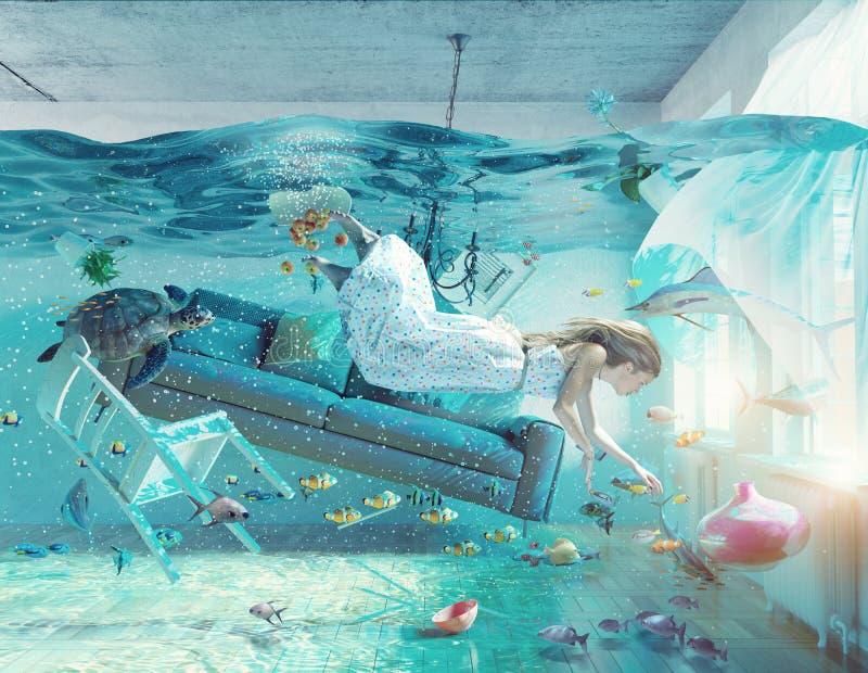 Undervattens- översvämningsinre royaltyfri illustrationer