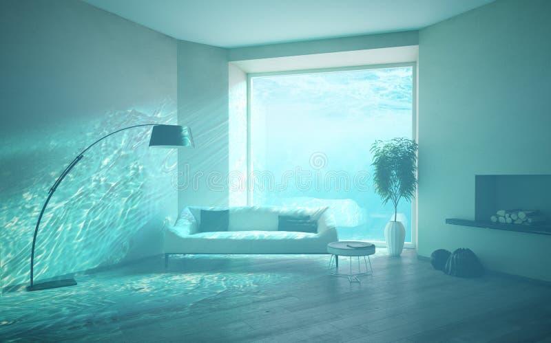 Undervattens- översvämningsinre vektor illustrationer