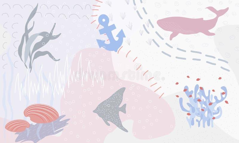 Undervattens- abstrakt färgrik fantasi Halv abstrakt konst för illustration Bild av fisken i havet Handen målade, barnmålning royaltyfri illustrationer