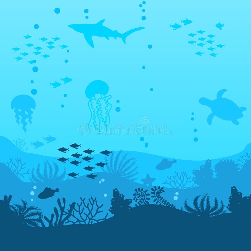 Undervattens- bakgrund för hav Havbotten med havsväxter vektor royaltyfri illustrationer
