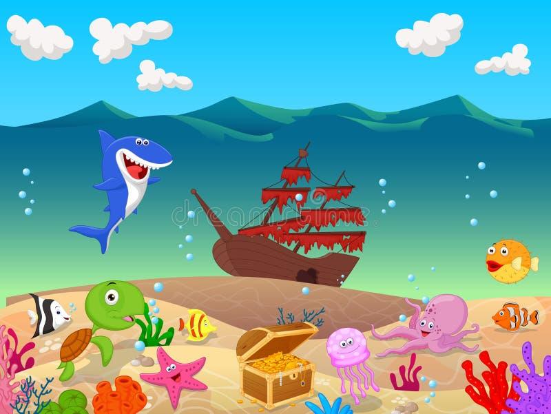Undervattens- bakgrund för tecknad film med det gamla skeppet stock illustrationer