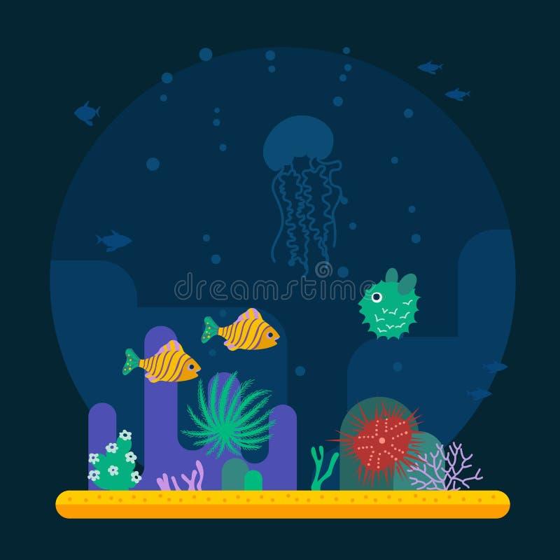 Undervattens- bakgrund med den olika tropiska fisken royaltyfri illustrationer