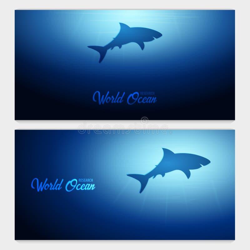 Undervattens- bakgrund med solstrålar och konturn av hajen Baner för djupt hav sätta på land tidskriften för färgflickaillustrati stock illustrationer