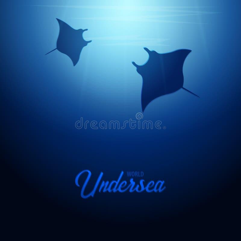 Undervattens- bakgrund med solstrålar och konturn av stingrocka- eller mantastrålen Baner för djupt hav sätta på land tidskriften stock illustrationer