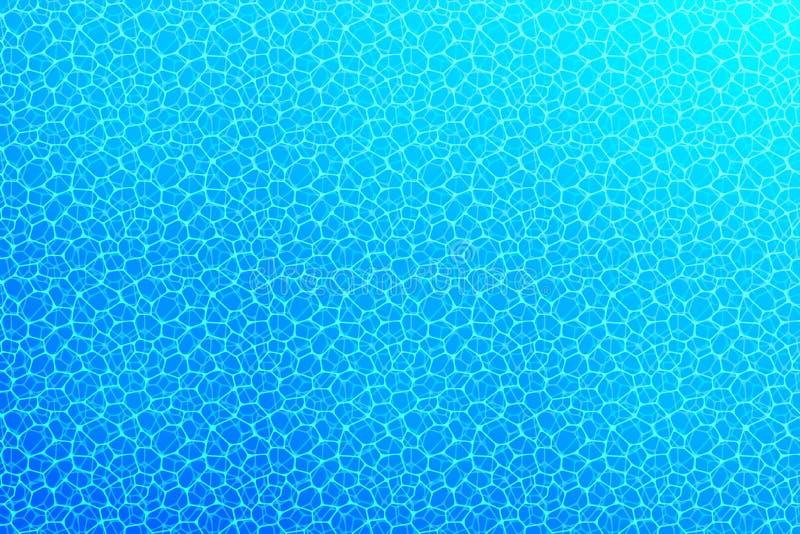 undervattens- bakgrund Vattenyttersidatextur Vektorillustration med djup oceanisk plats Sommar lopp, flotta stock illustrationer