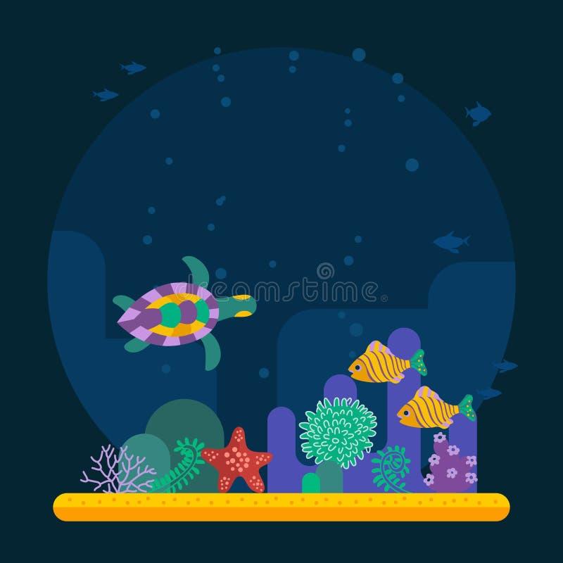 Undervattens- bakgrundskorallträdgård med den glansiga vattenyttersidasänkan royaltyfri illustrationer