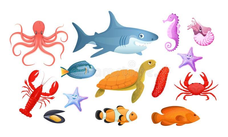 Undervattens- djur f?r hav och f?r flod Olika havsdjur fiskar royaltyfri illustrationer
