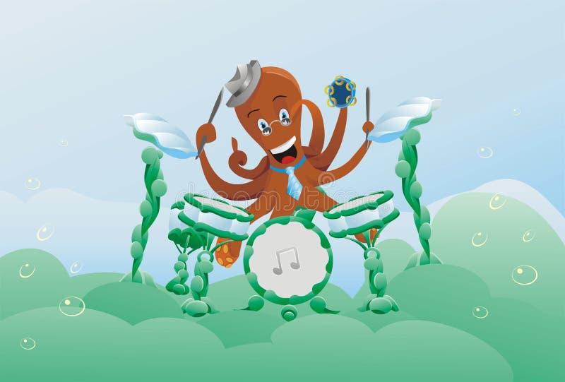 undervattens- djur poulpe för djurteckenmusik vektor illustrationer