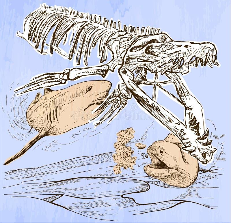 Undervattens- förhistoria - en hand dragen vektor royaltyfri illustrationer
