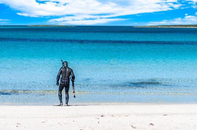 Undervattens- fiskare som väntar på stranden arkivbild