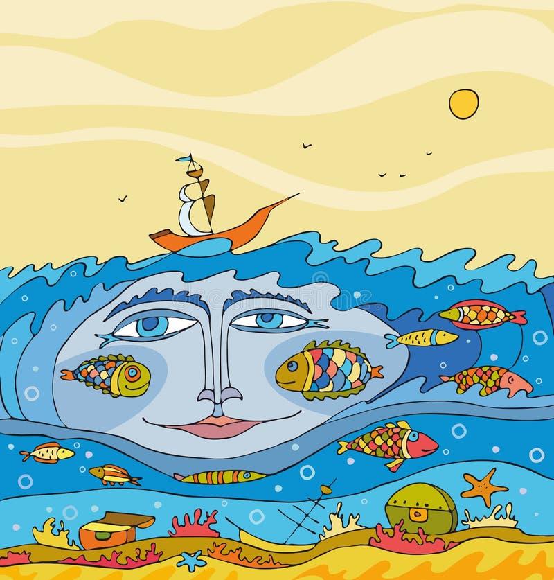 undervattens- framsidafantasihav royaltyfri illustrationer