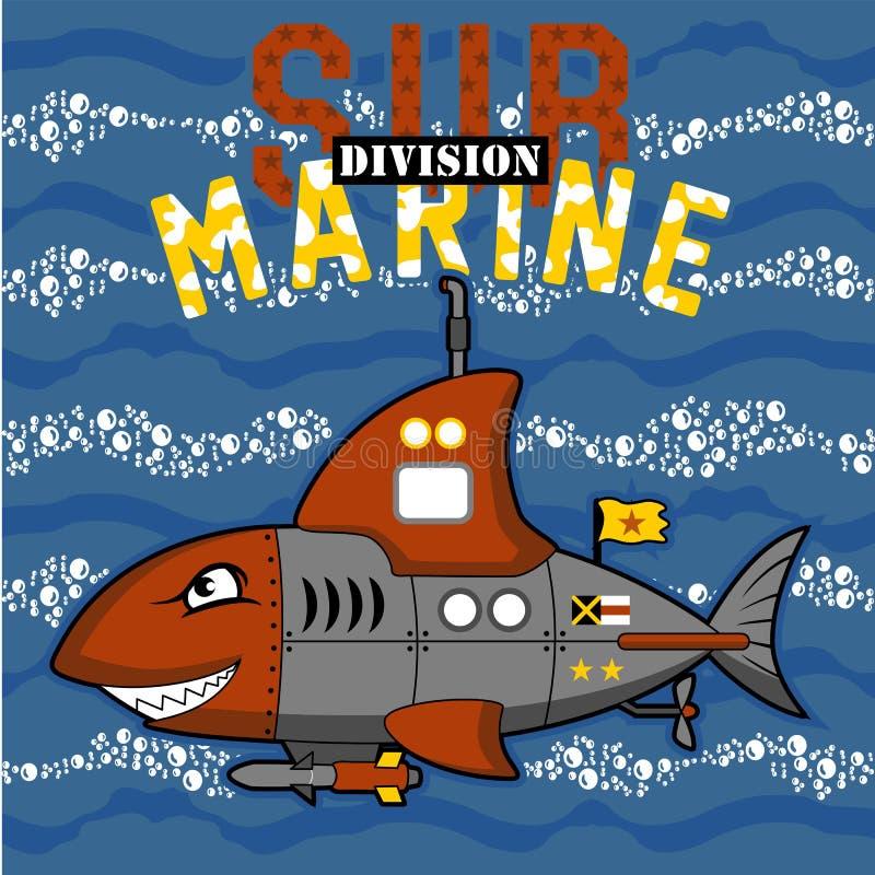 Undervattens- gigantisk tecknad film för ubåt stock illustrationer