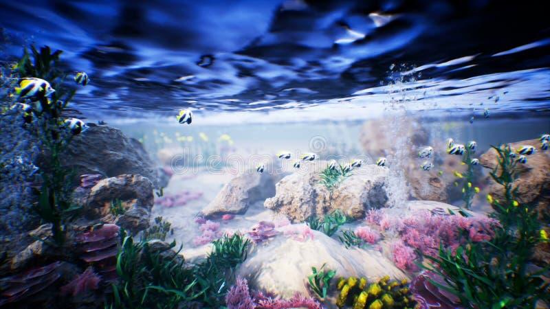 Undervattens- havsvågor och tropisk fisk vektor illustrationer