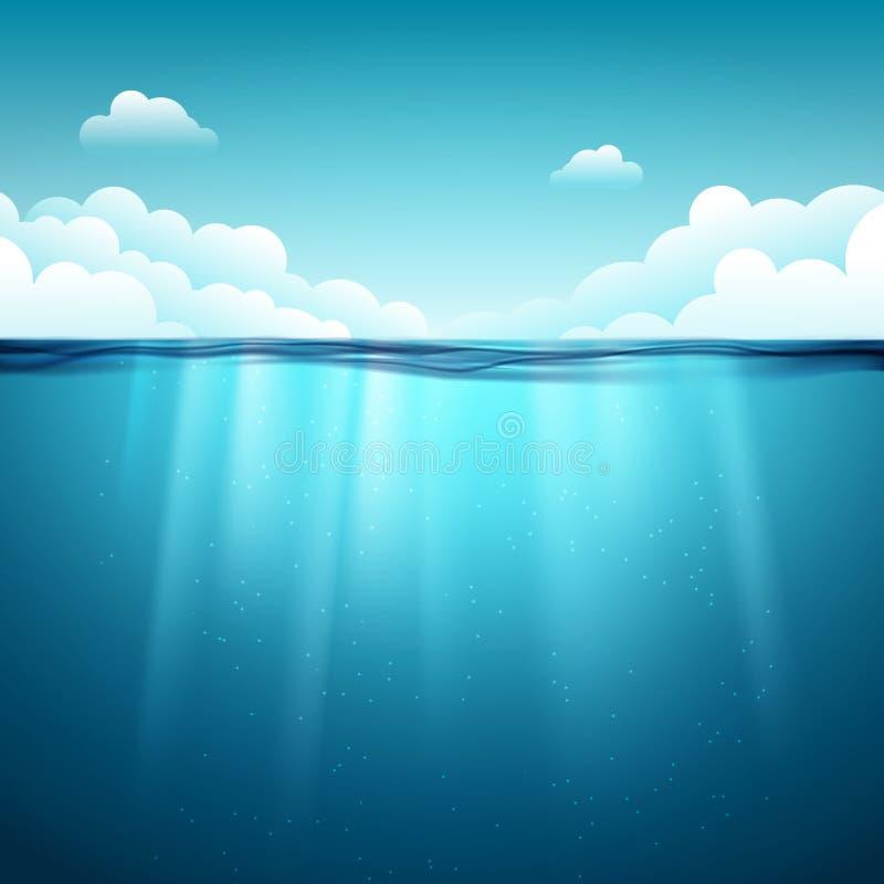 Undervattens- havyttersida blått vatten för bakgrund Undervattens- bakgrund för rent naturhav med himmel stock illustrationer