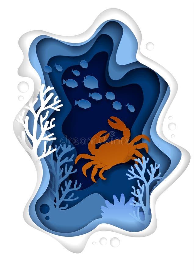Undervattens- illustration för snitt för papper för havslandskapvektor royaltyfri illustrationer
