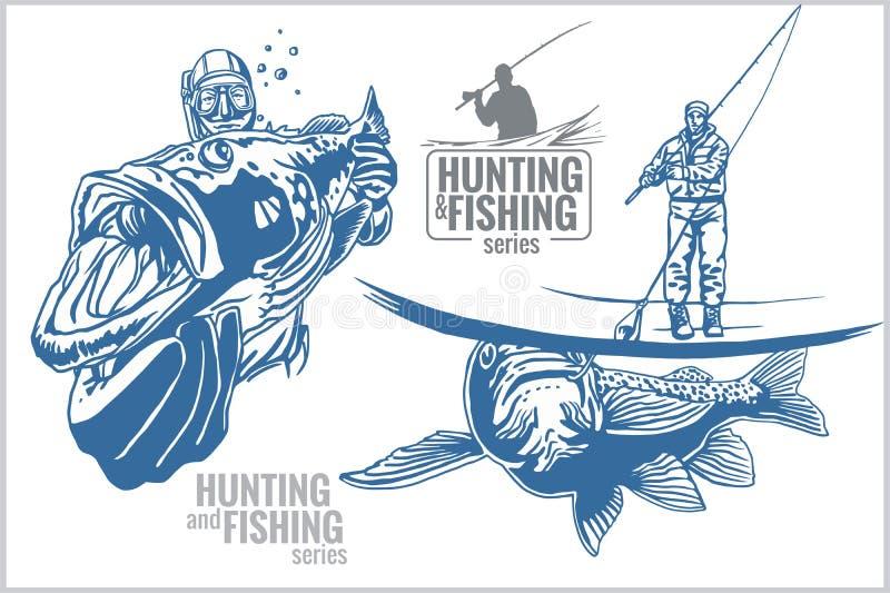 Undervattens- jägare och fiskare - tappning royaltyfri illustrationer