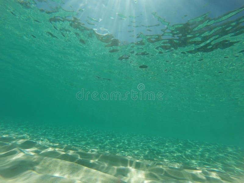 Undervattens- karibisk seascape med aqua, sand och solen rays royaltyfria bilder