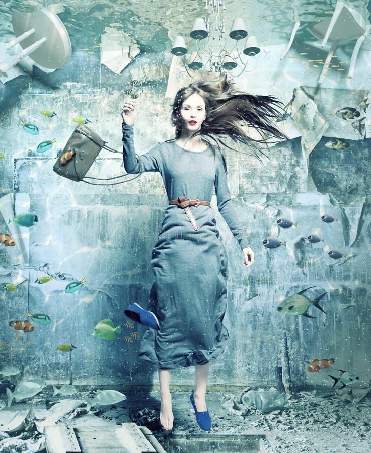 Undervattens- kvinna royaltyfri illustrationer