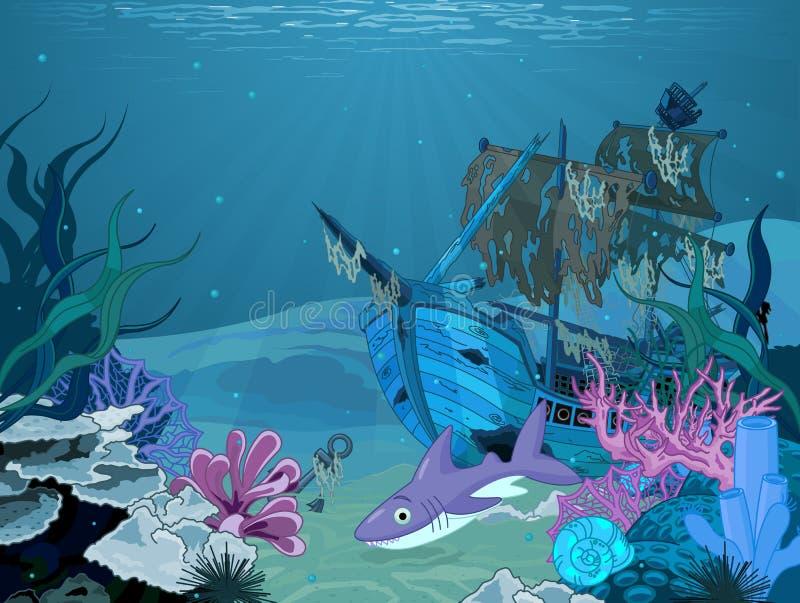 Undervattens- landskap vektor illustrationer