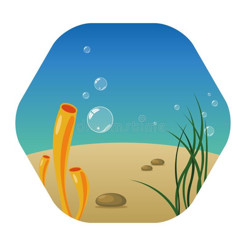 Undervattens- landskap med havsväxter, koraller, stenar och bubblor vektor illustrationer