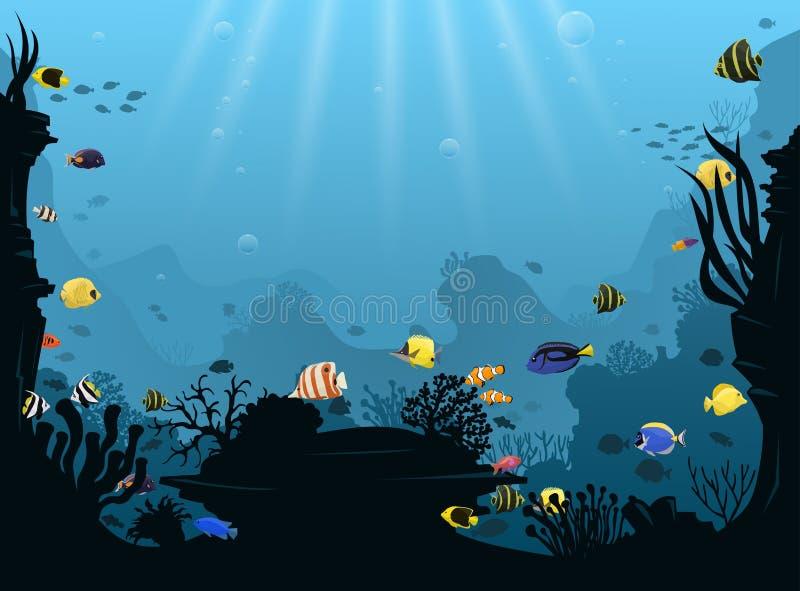 Undervattens- liggande med olika vattenväxter och den tropiska fisken för simning royaltyfri illustrationer