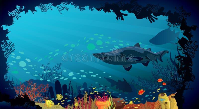 Undervattens- liv - korallrev med hajar och fisken stock illustrationer