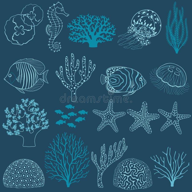 Undervattens- livdesignbeståndsdelar stock illustrationer