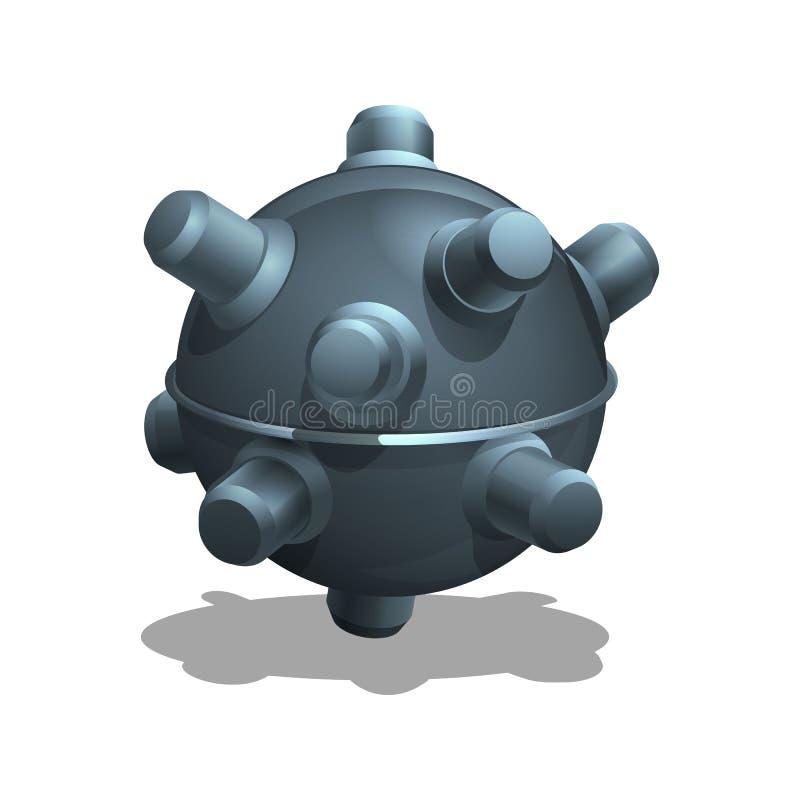 Undervattens- min för tecknad film för lekar vektor illustrationer