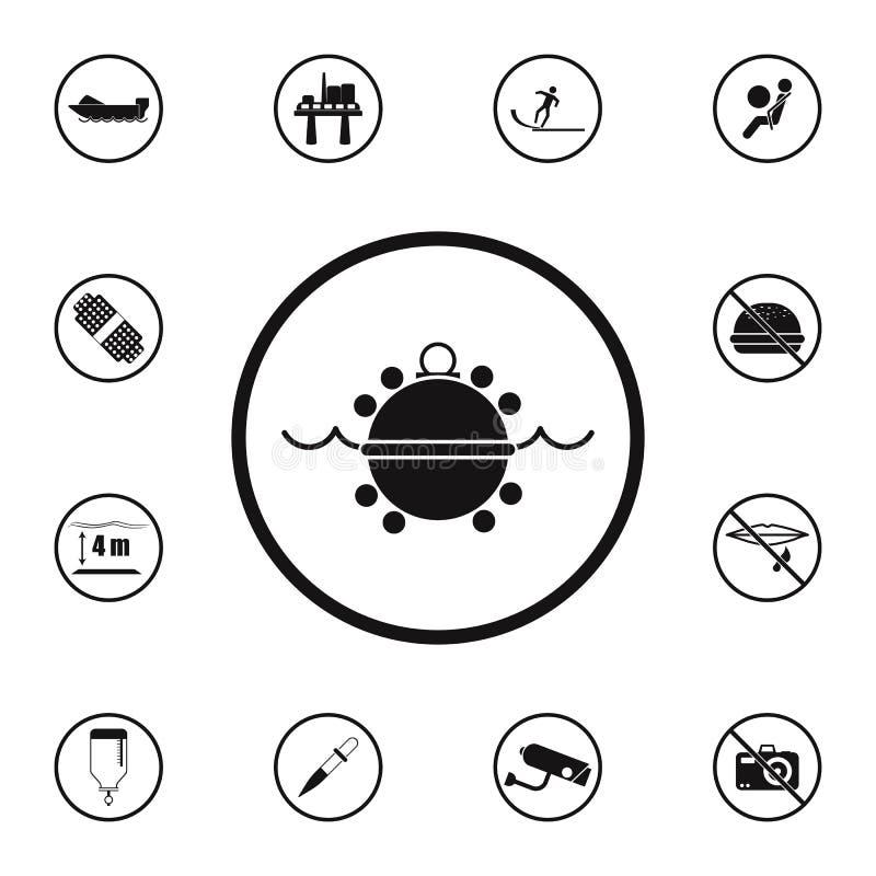 undervattens- minsymbol för tecken farligt Detaljerad uppsättning av symboler för varningstecken Högvärdigt kvalitets- tecken för stock illustrationer