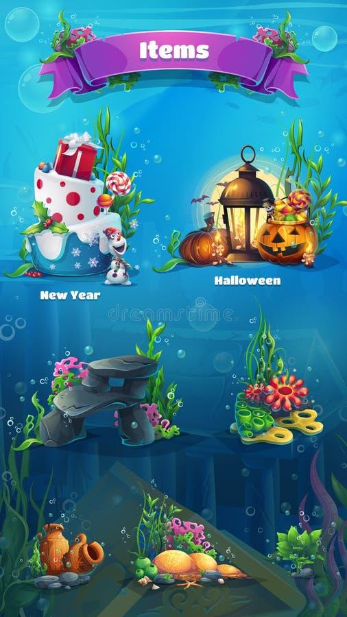 Undervattens- objektuppsättning - snögubben, kakan, gåvor, lampan, lykta, vaggar, stenar, alger, amfora, bubblor Ljus bild som sk royaltyfri illustrationer