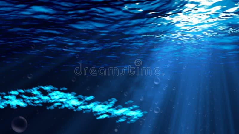 Undervattens- plats med bubblor och tolkningen för fisk 3D vektor illustrationer