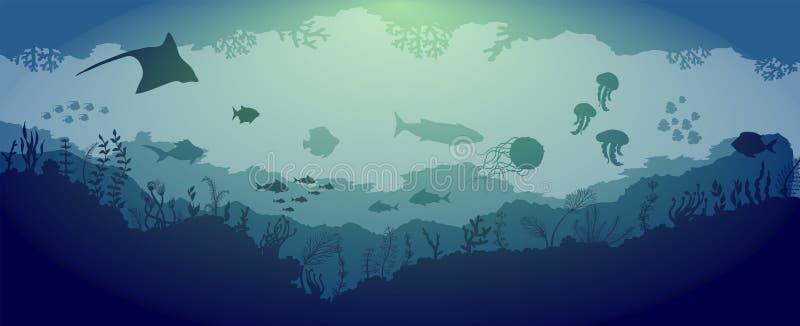 Undervattens- revdjurliv på blå havsbakgrund royaltyfri illustrationer