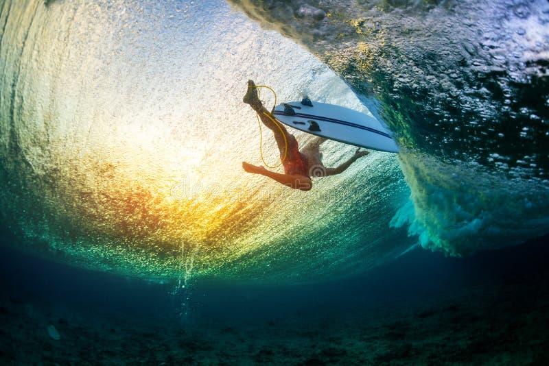 Undervattens- sikt av surfaren arkivbild