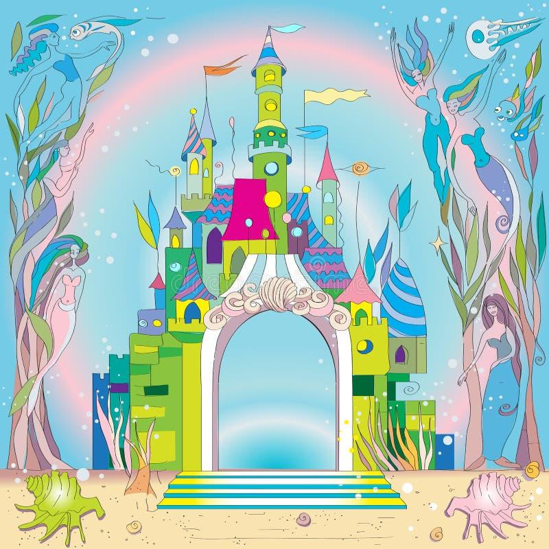 undervattens- slott royaltyfri illustrationer