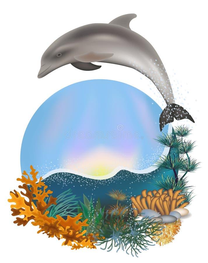 Undervattens- sommarkort med delfin royaltyfri illustrationer