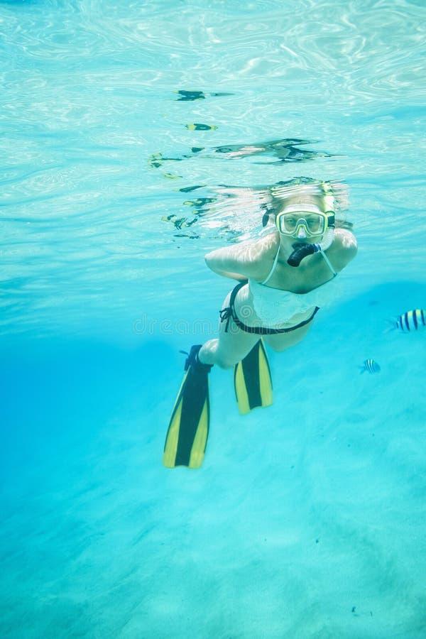 Undervattens- stående av en kvinna som snorklar i det klara tropiska havet royaltyfri fotografi