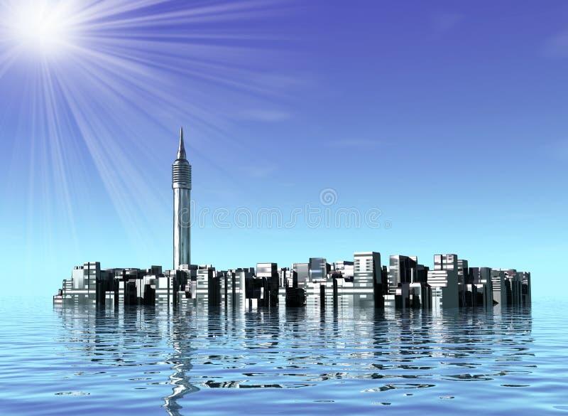 Undervattens- stad i hav stock illustrationer