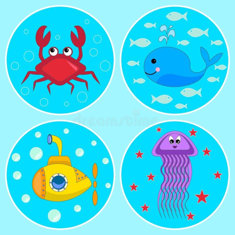 Undervattens- symboler stock illustrationer