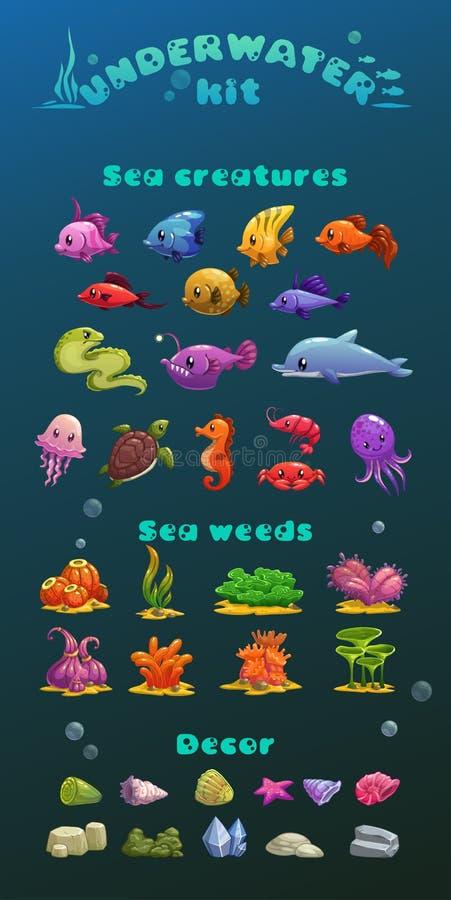 Undervattens- symbolsuppsättning för gullig tecknad film stock illustrationer
