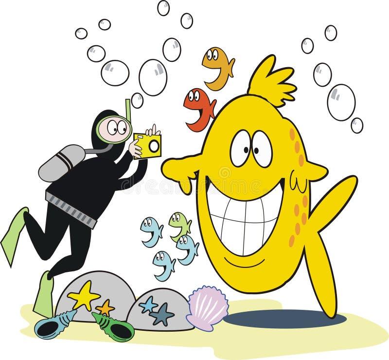 undervattens- tecknad filmfotografi royaltyfri illustrationer