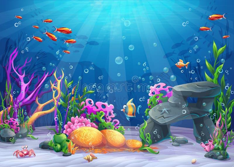 Undervattens- tecknad filmillustration royaltyfria bilder