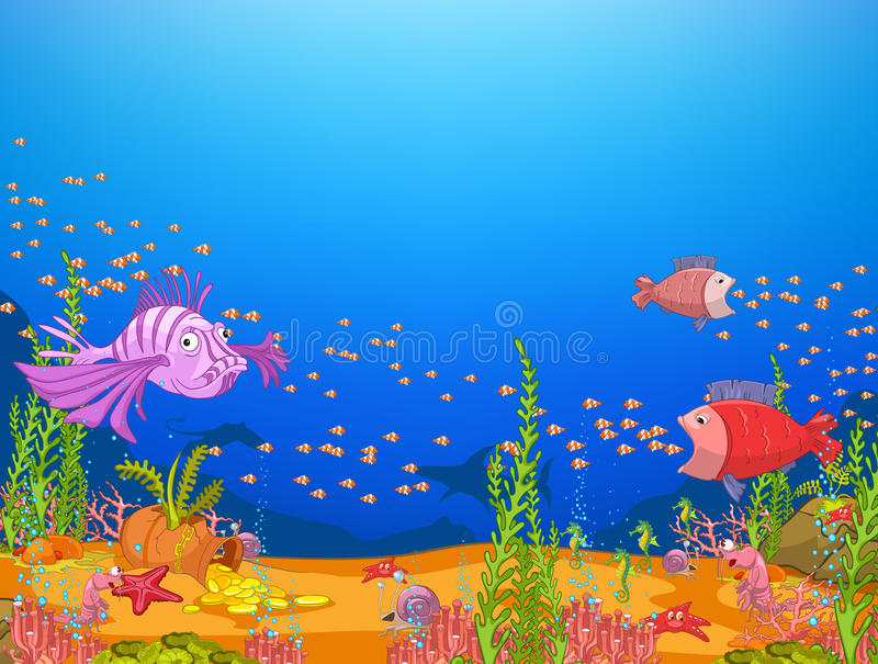 undervattens- värld för hav royaltyfri illustrationer